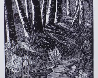 The Bridge To Wildwood linocut print