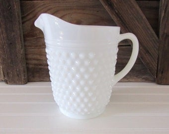 white milk glass hobnail pitcher Anchor Hocking