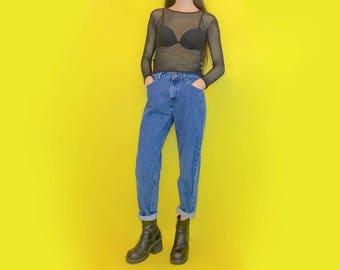 Vintage 90s Y2k 2000s LEE High Waisted Blue Denim Tapered Mom Jeans Size 4 Size 6