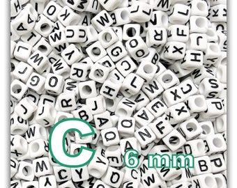 "cube alphabet ""C"" 6mm - letter beads 50 beads"