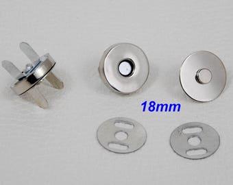 18 X 4mm - Bouton fermoir aimanté magnétique pour travail du cuir, sac ou boite cartonnage