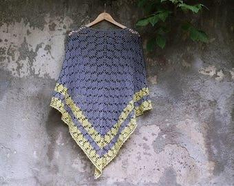 Crochet grey cotton summer shawl, crochet shawl, grey-yellow shawl, spring shawl, summer shawl, boho grey shawl, dark-grey shawl,
