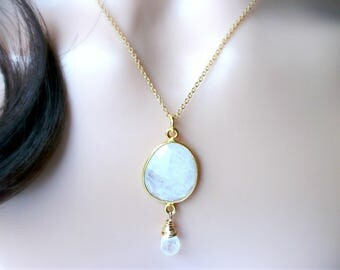 Moonstone Bezel Necklace With Moonstone Teardrop In Gold - Wedding Necklace - Gift For Her