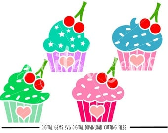 Cupcake, Cup Cake svg / dxf / eps / png files. Digital download. Compatible with Cricut and Silhouette machines. Small commercial use ok.