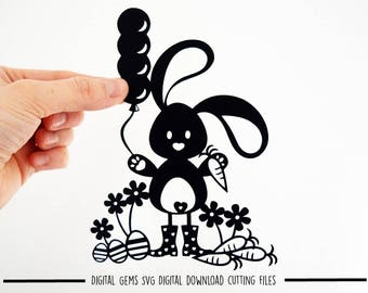 Easter bunny paper cut svg / dxf / eps / files and pdf / png printable templates for hand cutting. Digital download. Commercial use ok.