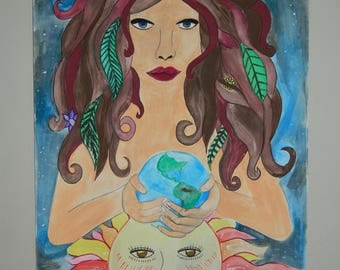 MOTHER EARTH GAIA acrylic painting