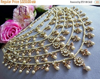 ON SALE Heavy Satlada,Rani Haar,Long Haar,Indian jewelry,Indian Necklace,Quality Kundan Jewelry,Indian Bridal Jewelry,Long Pearl Haar Long N
