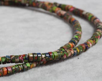 4mm green rondelle faceted jasper beads,1 strand approx 38 cm ( approx 15 inch- approx 150Pcs)