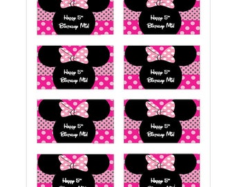 8 PERSONALIZED Minnie mouse inspired ears stickers, Minnie mouse stickers, party favors, labels, decals,treat goody bags, Custom Made