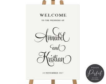 Printable Wedding Welcome Sign, Black and White Annabel Suite, Free Colour Changes, DIY Digital Sign, Annabel Suite