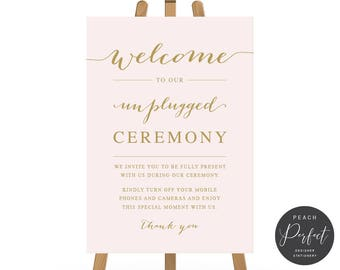 Unplugged Ceremony Wedding Sign, Blush Pink and Gold No Phones Wedding Sign, Elegant Blush, Instant Download, Elegant Blush and Gold