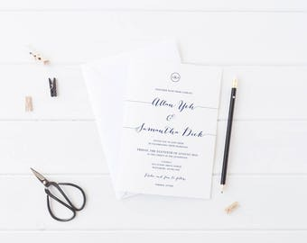 Digital Navy and White Modern Wedding Invitation, Professionally Printed or Printable DIY, Free Colour Changes, Monogram, Navy Soiree