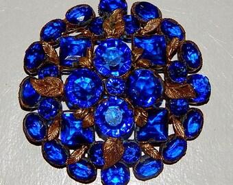VINTAGE Art Nouveau Czech Glass Rhinestone Pin Brooch // Blue Gold Leaf Design Pin // Sapphire Blue Jewels // Brooch / Jewelry Pin