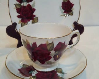 Vintage Royal Vale Tea Cup and Saucer Trio Set