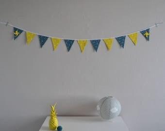 Bunting / wall decor / yellow and blue / pinwheels