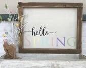 hello Spring Framed Wood Sign