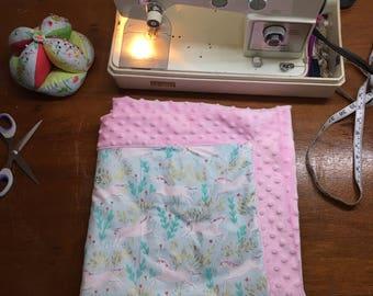 Pink Unicorn Baby Quilt Handmade,Minky Baby Girl Quilt,Handmade Quilt for Girls,Receiving Blanket for Girls,Modern Homemade Quilt