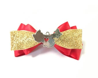 Chinese New Year hair bow, hair accessory, Lunar New Year, red, gold, glitter, adoption, hair accessories, party, girls, women, clip, charm