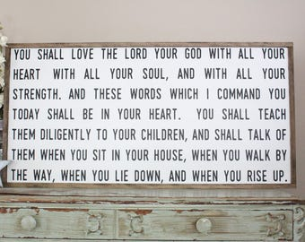 You Shall Love The Lord With All Your Heart Framed Wood Sign, Deuteronomy 6:5-7, Inspirational Sign, Farmhouse Decor, Large Wood Sign Saying