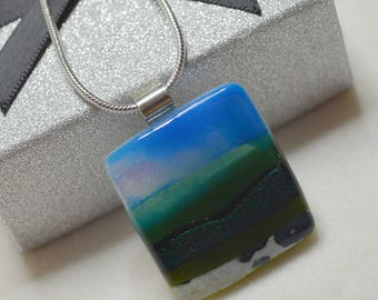 Green Fields Landcape Pendant with Sterling Silver Bail and Snake Chain - gifts, christmas, birthday, necklace, jewellery, handmade, mum