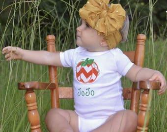 Pumpkin chevron personalized little girls little boys fall bodysuit
