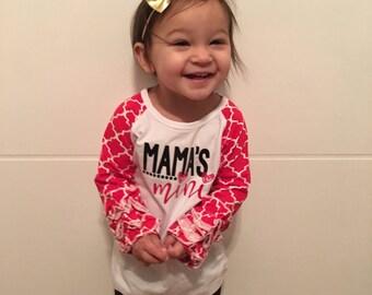 Mamas mini on red ruffle raglan Valentine's Day shirt