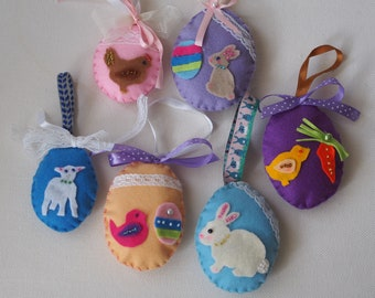 SET,6 EASTER DECORATIONS.Stuffed eggs(2 sizes)-Ribbons,lace,beads,pearls.Party favors,guests gifts.Bunny,bird,hen,goat,chick.Easter treats!