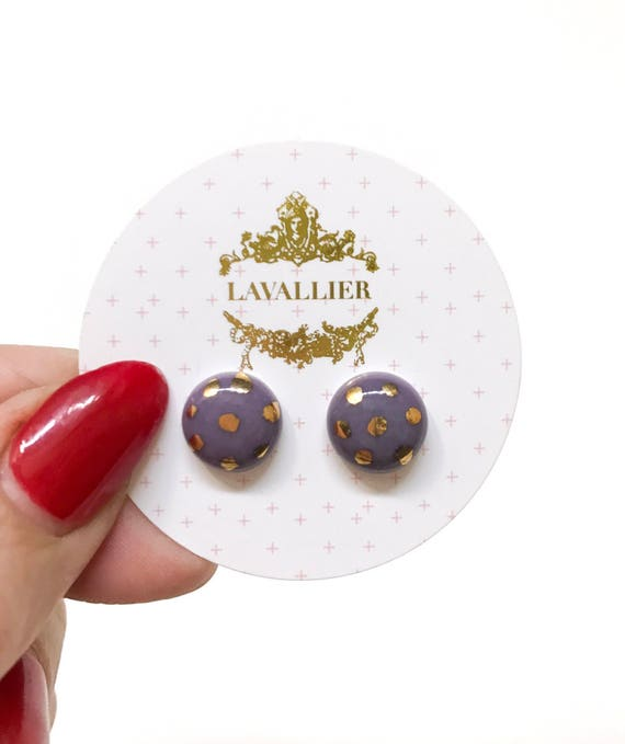 Lilac polka dot studs porcelain with 22k Gold