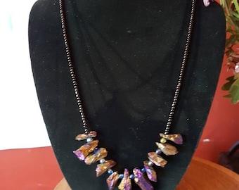 "28"" titanium crystal necklace"