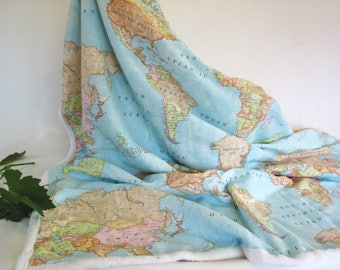 Map of the World Throw Blanket-Sherpa Fleece-cotton-Continents-Dorm Blanket-Europe-Asia-Africa-America-Canada-Travel Blanket-Cozy Blanket