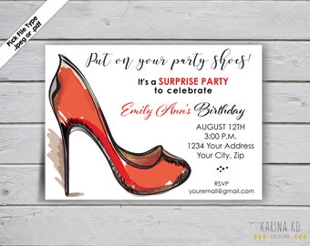 Put on Your Party Shoes 5x7 Invitation