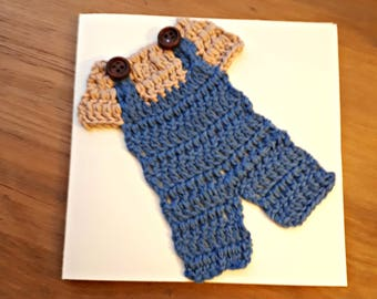 New Baby Card, Crocheted New Baby Card, Baby Boy Card, Baby Shower Card