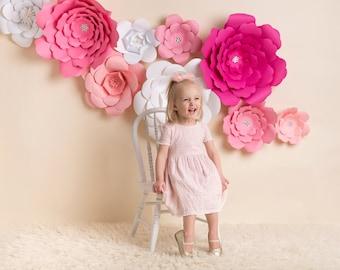 Paper Flowers, Paper Flower Backdrop, Large Paper Flowers, Giant Paper Flowers, 3D Flowers, Photography Backdrop, Nursery Decor