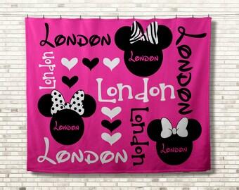 Disney Minnie Mouse Blanket, Monogram Blanket, Personalized Blanket, Disney Blanket, Personalized Baby Blanket, Custom Birthday Gift