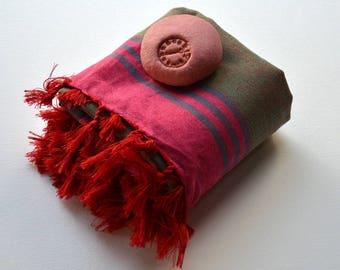TURKISH BEACH TOWEL - Peshtemal / Handwoven Turkish bath towel /  body towel /green blue pink stripes / Turkish Blanket / fouta  Ç-12