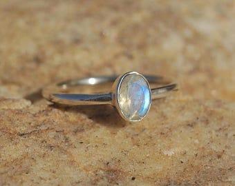 ON SALE Rainbow Moonstone Handmade Ring Vermeil Sterling Silver