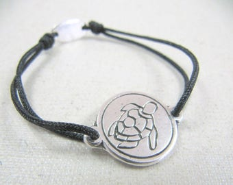 Navy turtle adjustable bracelet 18 mm - color and choice of string