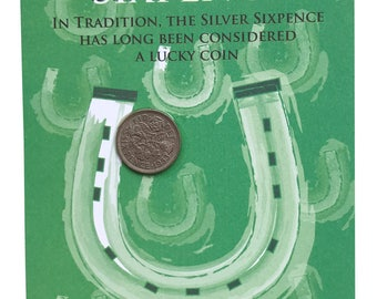 The Original LUCKY SILVER SIXPENCE Fun Gift or Greetings Card, Free U.K. 1st Class Post