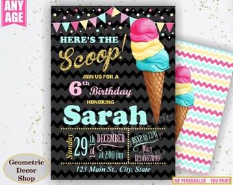 Ice cream birthday invitation / girl / pink / teal / gold / chalkboard / sweet invite / Ice cream cone / Scoop / Photo / photograph BDIC13