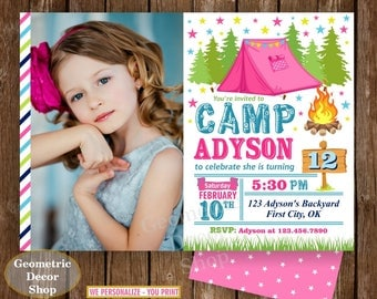 Camping Birthday Invitation, Girls Camping Invite, Glamping Invitation, Printable Invitation, Birthday Party Invite, teal pink green BDCamp3