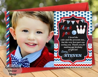 Thank you cards Bowling Party Favor tags digital gift Decoration birthday printable Thank you card tag photo photograph red blue boy THB2