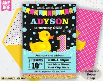 Rubber Duck, Duckie Birthday, Duck Birthday, Gold Pink Rubber Duck Birthday, Invite, Birthday Invitation, Splish Splash Pool Bash BDuck1