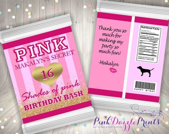 Victoria's Secret Inspired Custom Potato Chip Bag- VS Pink Party Favor Bag- VS Pink Party Favors- Digital File ONLY