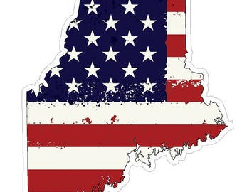 Maine State (J20) USA Flag Distressed Vinyl Decal Sticker Car/Truck Laptop/Netbook Window