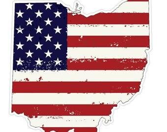 Ohio State (J36) USA Flag Distressed Vinyl Decal Sticker Car/Truck Laptop/Netbook Window