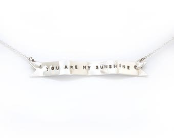 Personalised Silver Banner Necklace