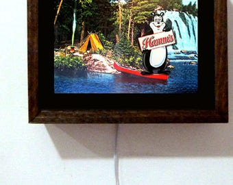 Hamm's Hamms Beer Bear Lake Camping Fishing Waterfall Canoe Wood Frame Light Lighted Sign