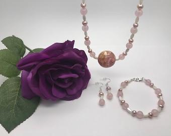 Rose Quartz, Mother of Pearl, Freshwater Pearl Set