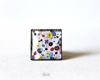 Cabochon 20 mm Retro Floral Japanese square ring
