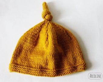 Newborn 0-3 month Pixie Hat Merino Wool mustard ° °